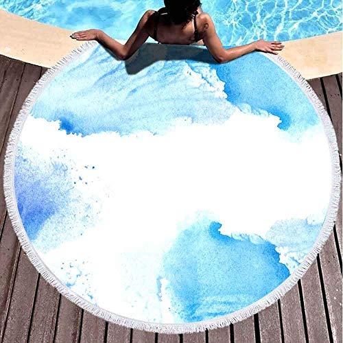 Toallas de playa para mujer, Toallas de playa para niñas Toalla de playa personalizada Marco azul violeta Acuarela abstracta Azul salpicadura Fondo blanco 59 pulgadas Toalla de playa de microfibra