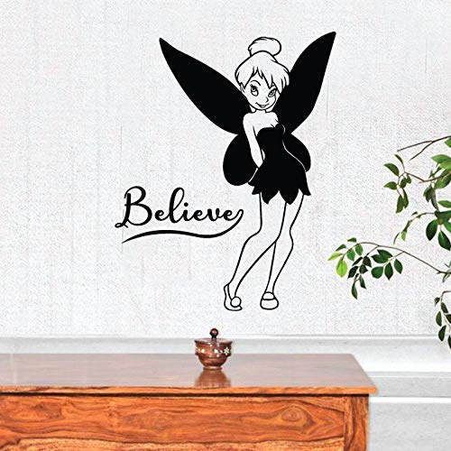 Tinkerbell Quote Believe Tinkerbell Little Fairy Pixie Dust Tinkerbell Disney Movie Character Tinkerbell Vinyl Wall Art Sticker DecorationFor Home Kids Baby Girls Childrens Room Size (10x10 inch)