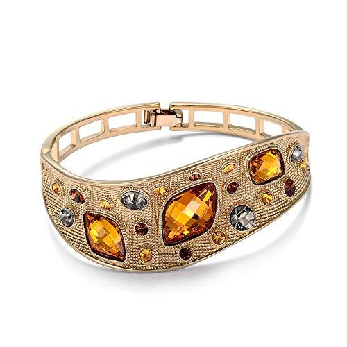 YOUZHA Armbänder Vintage Armreifen Für frauen Modeschmuck Kaffee Gold Farbe Legierung Mit Top Österreichischen Strass Orange Kristall, Kaffee Gold Farbe