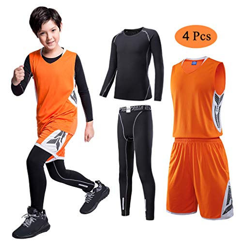 TERODACO Kids 4 pcs Athletic Thermal Tights & Shirts Basketball Jerseys Tank Set