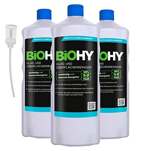 BiOHY Limpia cristales y superficies (3 botellas de 1 litro) + Dosificador...