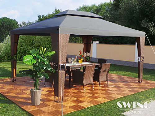 Luxus Rattan Pavillon (Braun/Anthrazit)