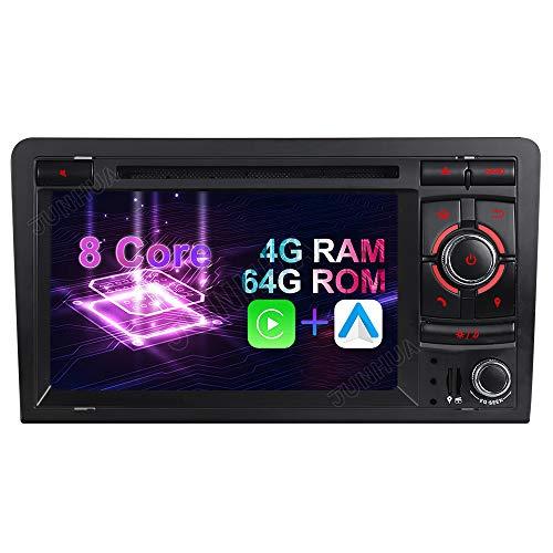 Android 10 Octa-Core 4GB RAM+64GB ROM Carplay+Android Auto DSP Autoradio DVD GPS Navigation Navi Radio Bluetooth DAB+ WiFi OBD 4G LTE TPMS Lenkrad IPS für Audi A3 S3 RS3 8P 8V 8PA Unilaterale Taste