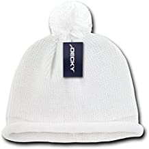 DECKY Solid Roll Up Beanie with Pom