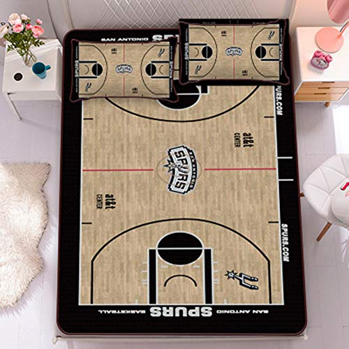 EDFG Basketball team cartoon star 3D ice silk summer sleeping pad three-piece foldable and washable ice silk soft bed sheet and pillowcase three-piece air-conditioned room-Spurs-2.0m~6.6ft