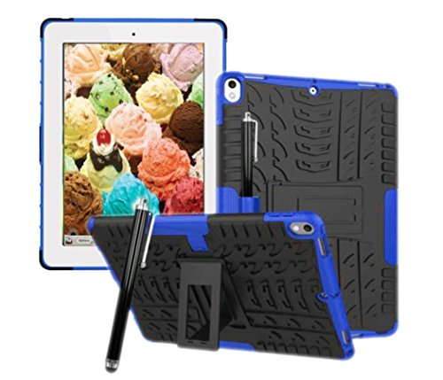 Price comparison product image New iPad Case 2 in 1 TPU PC Hybrid Shockproof Rugged Rubber Hard Holder Cover for iPad Pro 10.5 Inch 2017 Version Model A1701 / A1709 MQEY2LL / A MQF02LL / A MQDW2LL / A (2in 1 Black with Blue)