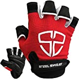 Steel Sweat Workout Gloves - Best for Gym, Weightlifting, Fitness, Training and Crossfit - Made for Men and Women who Love Weightlifting & Exercise – RUE Red Large