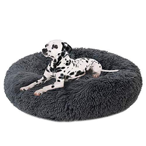 Deluxe Round Pet Bett/Fangqiyi Hunde und Katzen Bett, mit Reißverschluss, leicht zu entfernen und zu waschen, Kissen für Katzen/Hunde, 60 cm-120 cm / 5 Größen (90cm, Dark Gray)