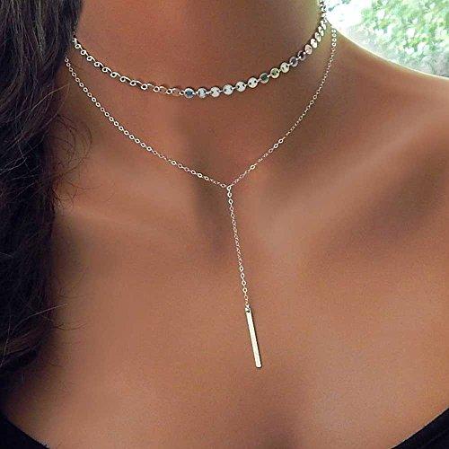 BEATEER Fashion Coin Choker Layered 2 Halskette Set Silberbarren Anhänger Halskette Freundin Geschenk