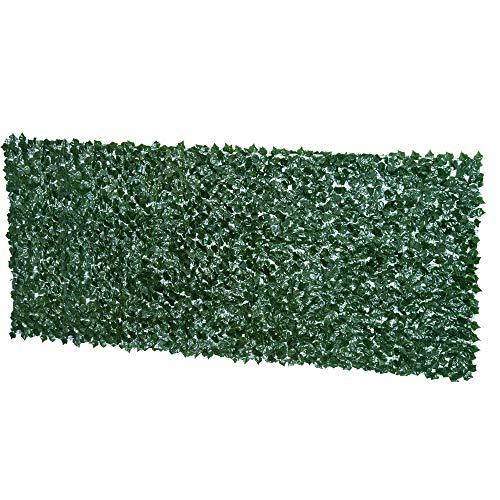 Outsunny Künstliche Hecke Sichtschutzhecke Pflanzen Hecke Wanddekoration Dunkelgrün 300 x 150 cm