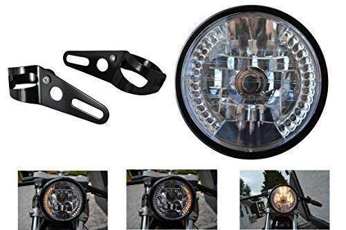 Noir Universel Moto Phare avec Intégré LED Clignotants et Fourche Fixation Diamètre 7 inch 12V 35W