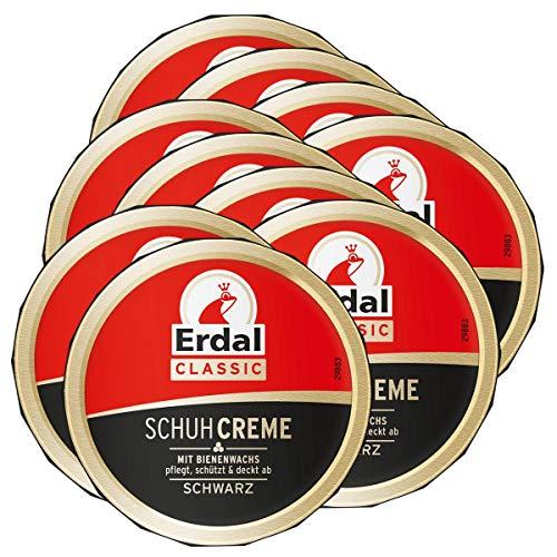 Erdal 10x Erdal Classic Schuhcreme Schwarz - Dosencreme, pflegt, glänzt & schützt, 75 ml