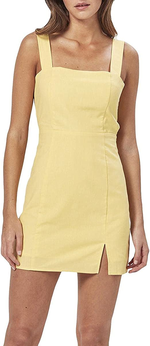 Charlie Holiday Womens Iva Linen Tie Back Mini Dress