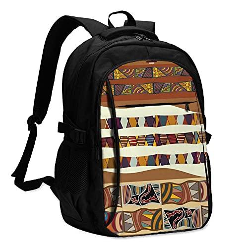 AOOEDM Mochila con USB para ordenador portátil, mochila escolar, bolsa de viaje de 17 pulgadas, tribal tradicional africano, tríptico, bolsa de negocios, para niños, niñas, hombres, mujeres