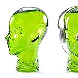 DESIGN DELIGHTS KOPFHÖRERSTÄNDER Mick | Glas, transparent/grün, 29 cm | Glaskopf, Deko Kopf