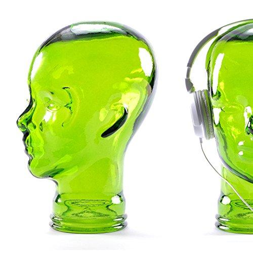 DESIGN DELIGHTS KOPFHÖRERSTÄNDER Mick   Glas, transparent/grün, 29 cm   Glaskopf, Deko Kopf