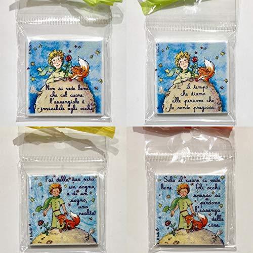 Calamite PICCOLO PRINCIPE 12 pezzi CON FRASI ASSORTITE (4 MODELLI) bomboniera, battesimo, cresima, comunione