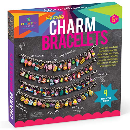 Craft-tastic – DIY Puffy Charm Bracelets Kit – Design 4 Easy-to-Make & Customizable Bracelets with 140 Colorful Puffy Stickers – Creative Arts & Crafts Gift – Fun Jewelry Making Set for Kids