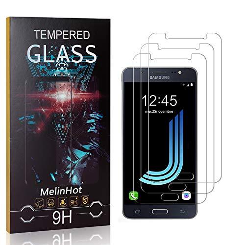 Displayschutzfolie für Galaxy J7 2016, MelinHot Blasenfrei Schutzfilm aus Gehärtetem Glas für Samsung Galaxy J7 2016, 9H Härte, Kratzfest, 99% Transparenz, 3 Stück
