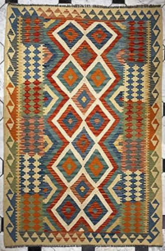 Alfombra oriental afgana hecha a mano Kilim de lana de colores naturales afganos turcos nómada persa tradicional persa 134 x 185 cm vintage corredor pasillo escalera reversible