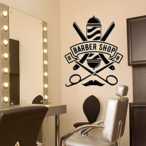 Friseur Logo Vinyl Wandtattoo Frisur Frisur Salon Logo Rasiermesser Rasierwand Wandaufkleber Wand Fenster Aufkleber Poster 57X69Cm