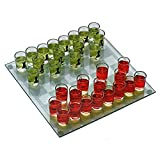 Drinking chess set contains 32 shot glasses With this glass chess board, you don't have to worry about spills! Great way to make chess even more fun!