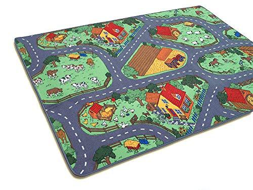 HEVO Bauernhof Teppich Kinder Strassen Spielteppich | Kinderteppich 145x200 cm