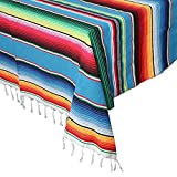 Aytai Mantel mexicano de 59 x 84 pulgadas para decoración de bodas de fiesta mexicana, mantel de algodón cuadrado grande, manta mexicana colorida cubierta de mesa al aire libre