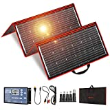 DOKIO 300 Watts 18 Volts Portable Foldable Solar Panel Monocrystalline with Inverter Charge Controller for for 12v Battery Charging Car Battery AGM RV Camper Van