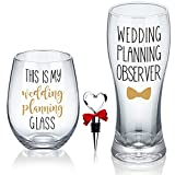 This is My Wedding Planning Glass Set, Engagement Gift for Couples, Mr & Mrs Gift, Anniversary, Wedding Gift for Newlyweds, Bride and Groom, Bridal Shower Gift Set
