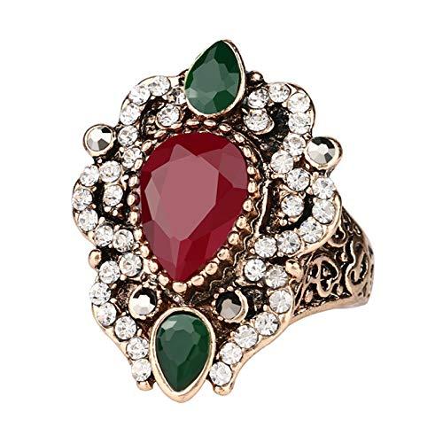 EzzySo Anillo de Cristal Hueco, Americana Retro Exquisito de Lujo de Lujo Anillo de aleación joyería (2 Piezas),Rojo,7