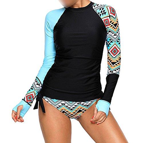 Meijunter Mujer 2 Piezas Traje de Surf - Manga Larga Protección UV Rashguard Lazos Laterales Tankinis Camisa Calzoncillos de triángulo Trajes de baño