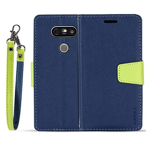 JEEXIA® Schutzhülle Für LG G5 / LG G5 SE, Retro PU Lederhülle Flip Cover Brieftasche Innenschlitzen Mit Stand Doppelte Farbe Ledertasche - Blau