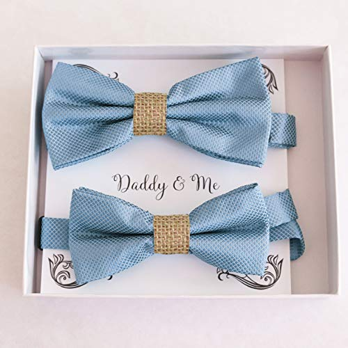 Dusty blue burlap Bow tie set for Very popular me Max 76% OFF s Daddy gift and daddy son