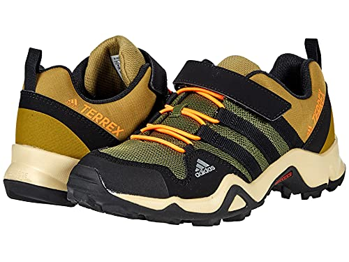 adidas Terrex Ax2R Cloudfoam Hiking Boot, Wild Pine/Black/Screaming Orange, 10.5 US Unisex Little Kid