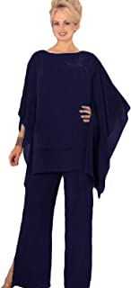 Mother Pants Suits Plus Size Chiffon Evening Formal Wear Mother Groom Trousers Suits