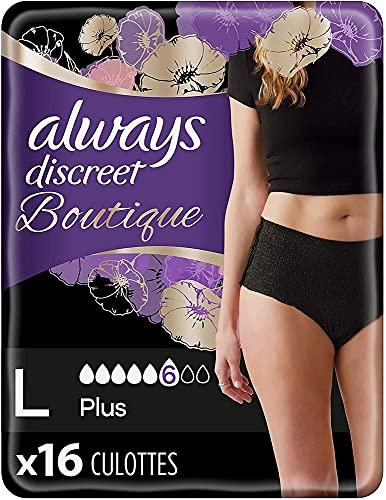 Always Discreet Boutique, Culottes Pour Fuites Urinaires / Incontinence, Noires, Taille L, 6 gouttes, Format Eco x16 (2 packs de 8 unités) (plusieurs couleurs disponibles)