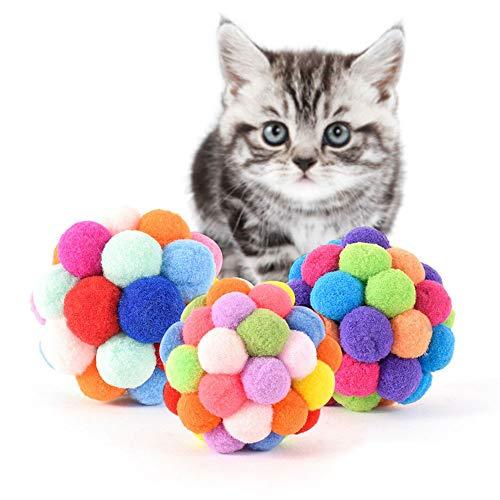 Juguete de bola para masticar para gatos, 6 unidades, colorido hecho a mano, bola hinchable, juguete de peluche para mascotas, juguete de peluche, suave y divertido