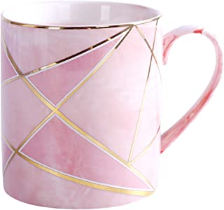 WAVEYU Ceramic Mug, Pink Coffee Mug Marble with Handle Decoration with Sparky Gold Girly Coffee Tea Cup for Girl Women for Ideal Gifts, 14 oz (Pink)
