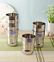 Sharda Metals Stainless Steel Water Juice Glasses Set, 400 ml, Silver, Pack of 6