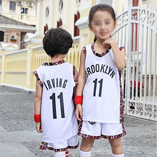 YZQ Uniformes De Baloncesto para Niños, Brooklyn Nets # 11 Kyrie Irving NBA Verano Basketball Jerseys Casual Chalecos Transpirables Camisetas Tops Sin Mangas + Pantalones Cortos,Blanco