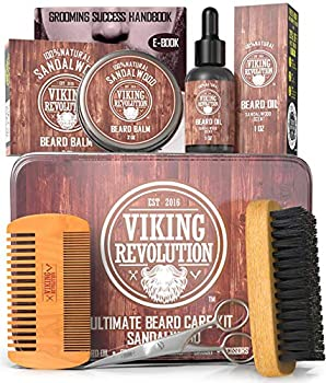Beard Care Kit for Men- Sandalwood- Ultimate Beard Grooming Kit includes 100% Boar Beard Brush Wood Beard Comb Sandalwood Beard Balm Sandalwood Beard Oil Beard & Mustache Scissors in a Metal Box