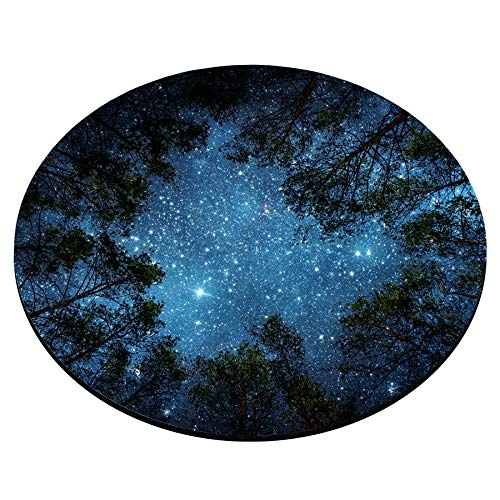 Smooffly Beautiful Night Sky Round Mouse Pad, The Milky Way and The Trees Mouse Pad,Sublime Forest Nature View Circular Non-Slip Rubber Mousepad Gaming Mouse Pad Photo #2