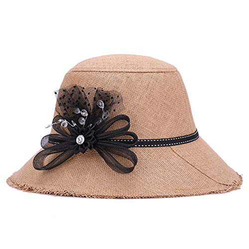 Lowest Price! Hat Hat, Distaff Summer Linen Grass Korean Tassel Visor Fooling Sunscreen (Color : Brown, Size : 58cm)