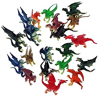 2.5 inches to 3 inches Plastic Mini Dragons - 20 Pieces