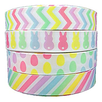20yds  4X5yds   7/8  Spring Easter Day Pastel Chevron Bunny Egg Stripe Printed White Solid Grosgrain Ribbon Hairbow Craft Supplies 4 in 1 roll