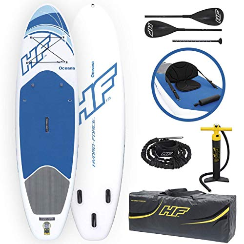 Bestway Hydro-Force Oceana Inflatable Stand Up Paddle Board | Inflatable SUP for Adults and Kids | Converts Into Kayak | Starter Kit Includes Oar, Hand Pump, Travel Bag, Surf Leash, Fins