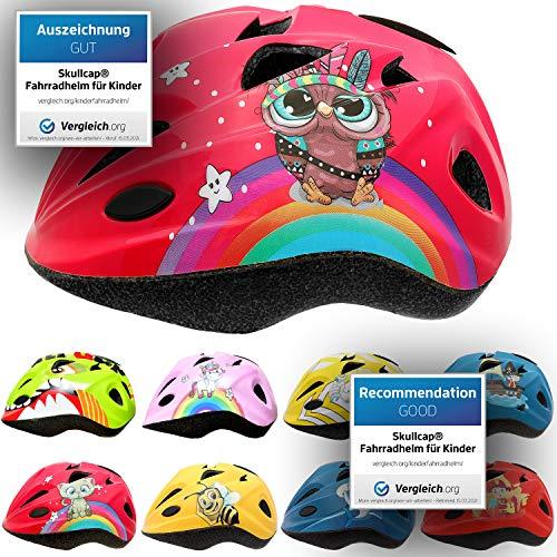 Skullcap® Fahrradhelm für Kinder Kinder-Helm für City-Roller, Longboard, Scooter - Roter Helm für Inliner, Schlittschuh/Rollschuh von Kindern gestaltet - von Profis gebaut, Eule