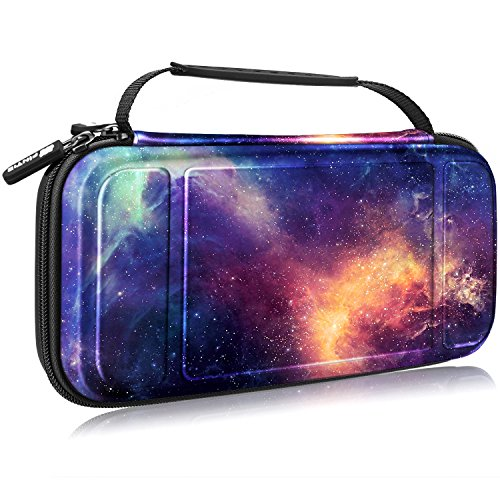 Fintie Carry Case for Nintendo Switch - [Shockproof] Hard Shell Protective Cover Travel Bag w/10 Game Card Slots, Inner Pocket for Nintendo Switch Console Joy-Con & Accessories, Galaxy