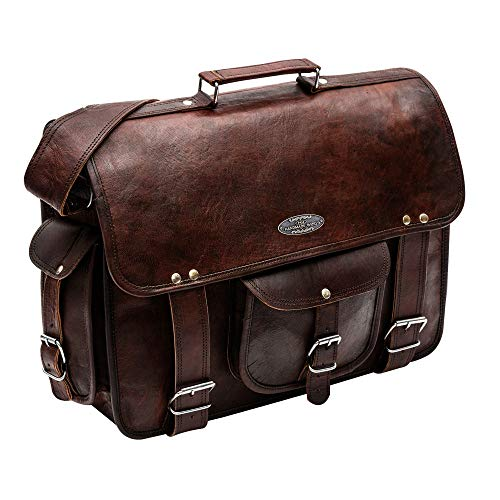 "Handmade World leather messenger bags for men women 18"" mens briefcase laptop bag best computer shoulder satchel school distressed bag (13"" X 18"")"